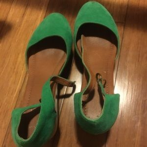 Madewell Green Suede Wedges